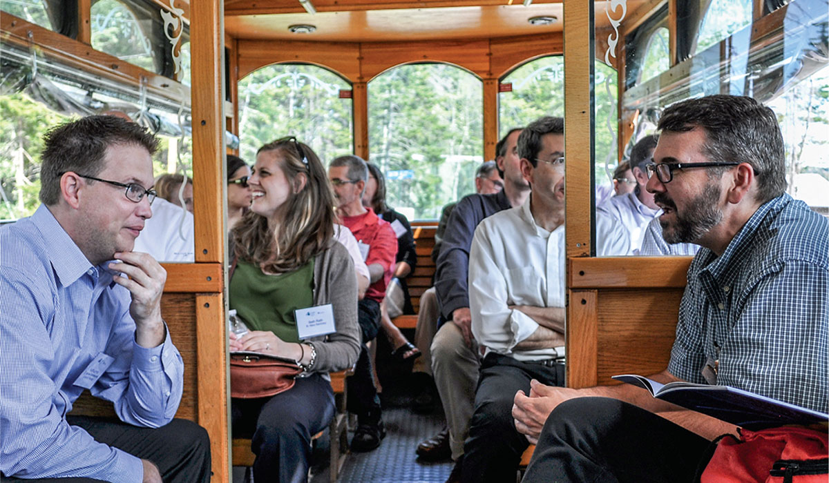 Seminary faculty on trolley