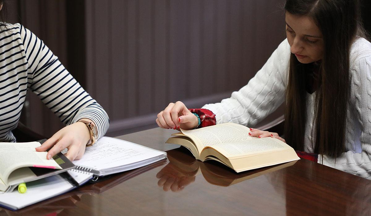 Undergraduate students studying